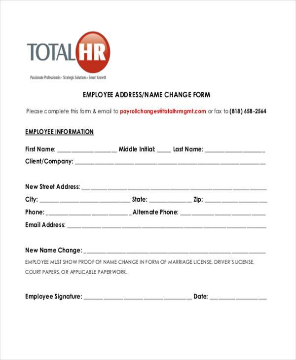 simple employee name change form