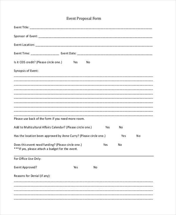 Generic Proposal Form Samples  Free Sample Example Format Download