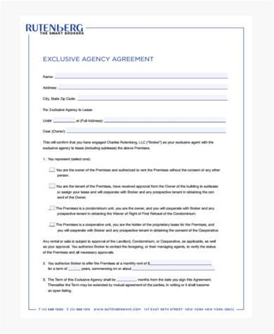 Sample Exclusive Agency Agreement Forms - 8+ Free Documents in ...