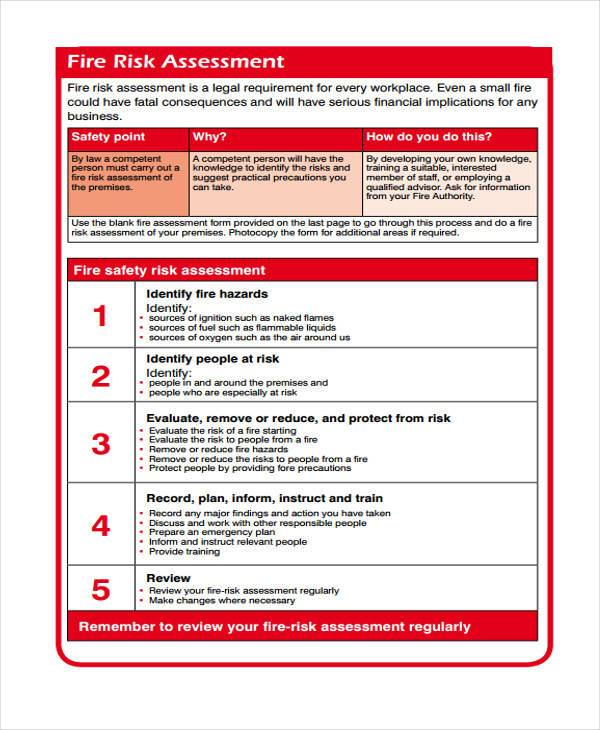 simple fire risk assessment form