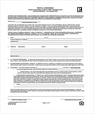 simple generic rental agreement form