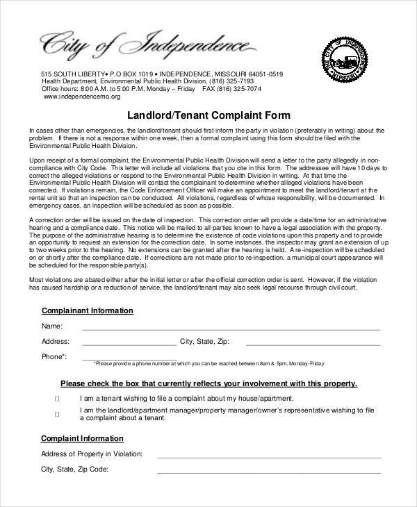 Landlord Complaint Form Samples  Free Sample Example Format