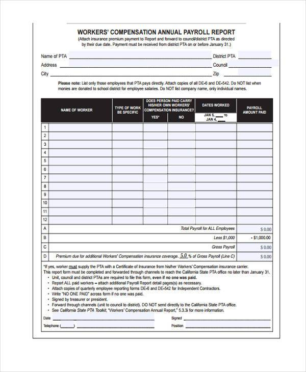 simple payroll reporting form