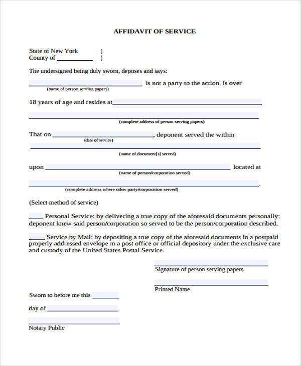 Sample Personal Affidavit Forms 7 Free Documents in Word PDF – Simple Affidavit Form