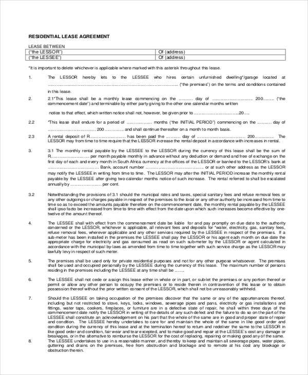8 Residential Lease Agreement Form Samples Free Sample Example – Sample House Lease Agreement Example