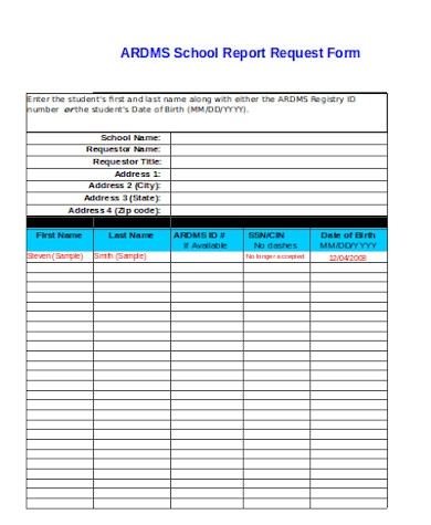 simple school report request form