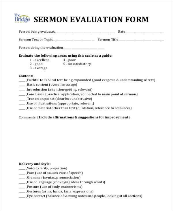 simple sermon evaluation form