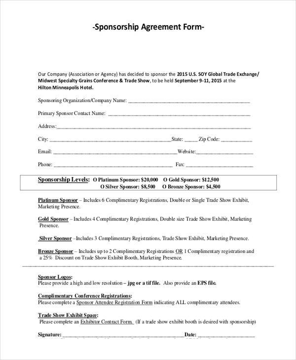 Sponsorship Agreement Form Samples  Free Sample Example Format