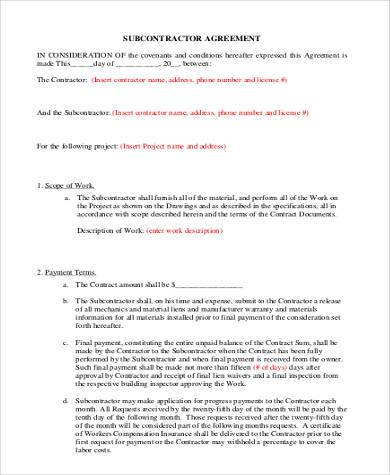 simple subcontractor agreement form