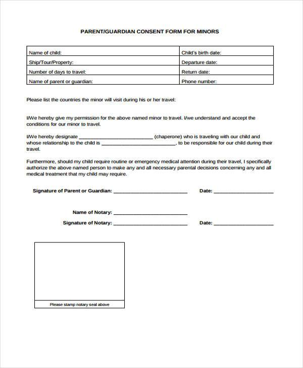 Travel Consent Form Samples  Free Sample Example Format Download