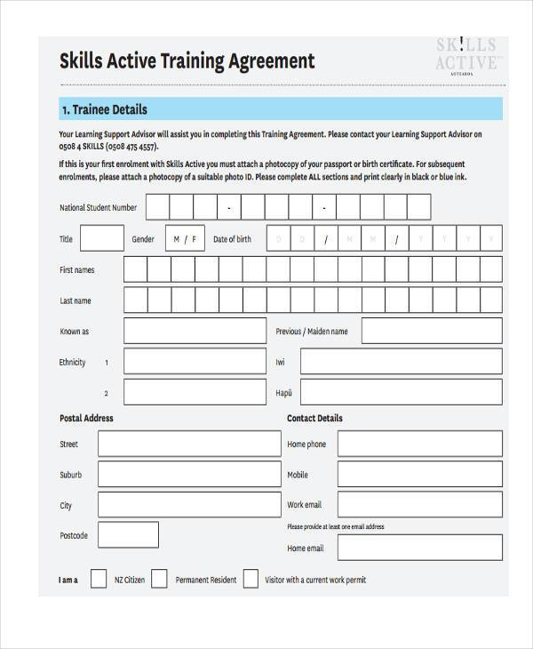 skills active training agreement form