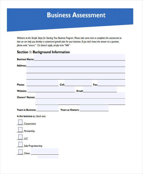 7 business assessment form samples free sample example format small business assessment form accmission Images