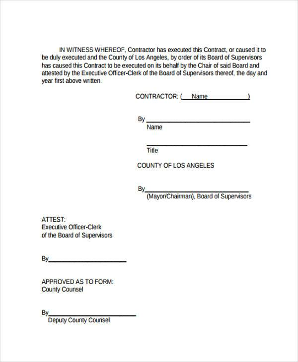 38 Sample Free Contract Forms – Free Business Contract