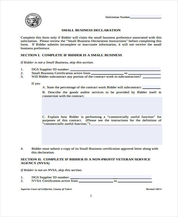 small business declaration form