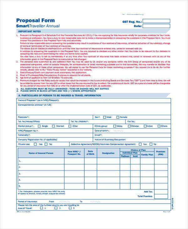 smart travel individual proposal form