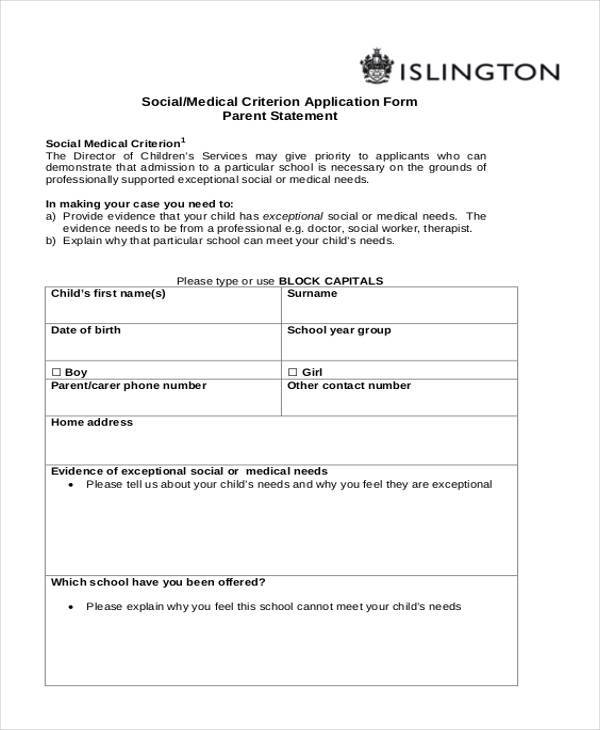 Medical Application Form Samples Free Sample Example Format