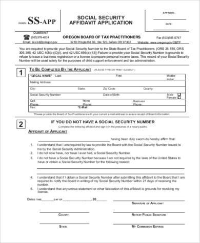 social security affidavit application form