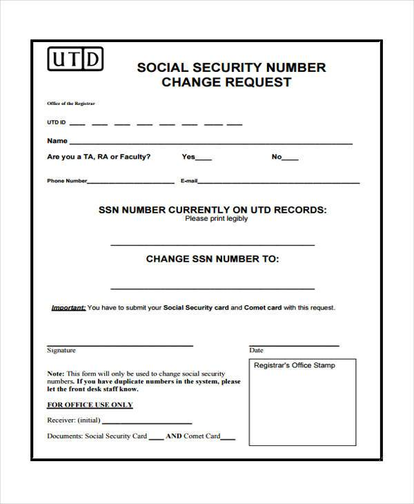 Social Security Card Form Samples   Free Documents In Word Pdf