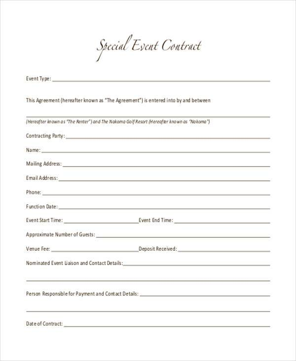 Special Event Contract Form