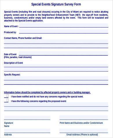 special event survey form