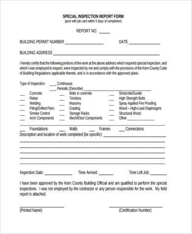 special inspection report form