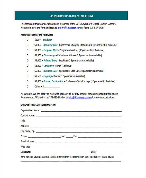 Sample Sponsor Contract Forms 7 Free Documents In Word Pdf