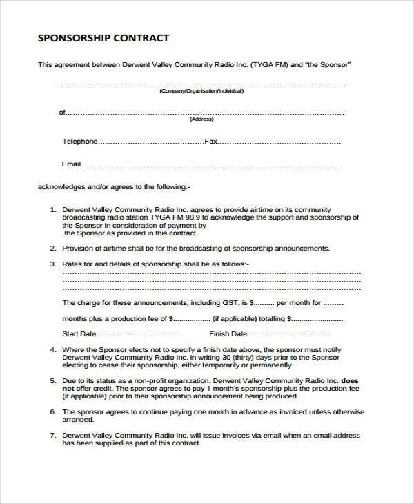 Sponsorship Contract Sponsorship Agreement Template Sample Form