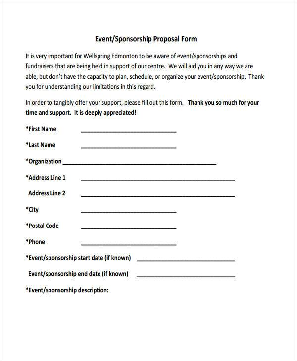 sponsorship event proposal form