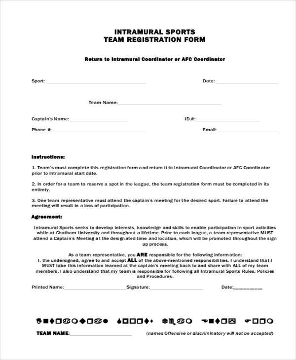 Registration form templates for Sport registration form template