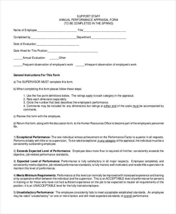 staff annual appraisal form