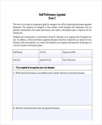 staff appraisal feedback form