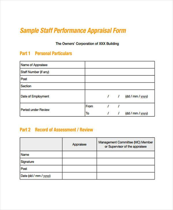 Employment Form Templates – Appraisal Forms Template