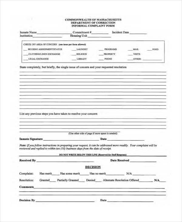 staff informal complaint form