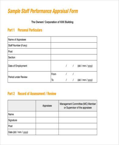 Sample Appraisal Evaluation Forms   Free Documents In Word Pdf