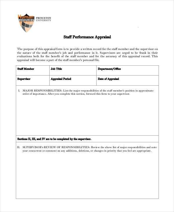 staff performance appraisal form manual1