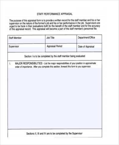 staff performance appraisal form1