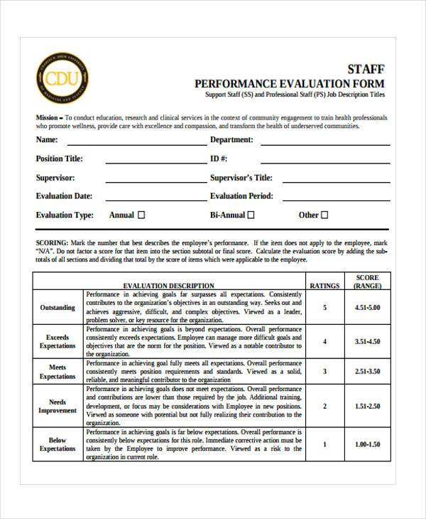 staff performance evaluation form example