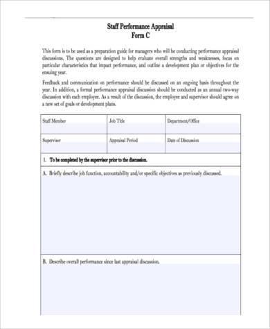 staff pre appraisal form