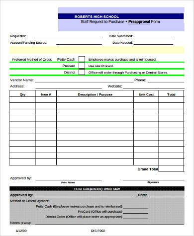 staff purchase preapproval form
