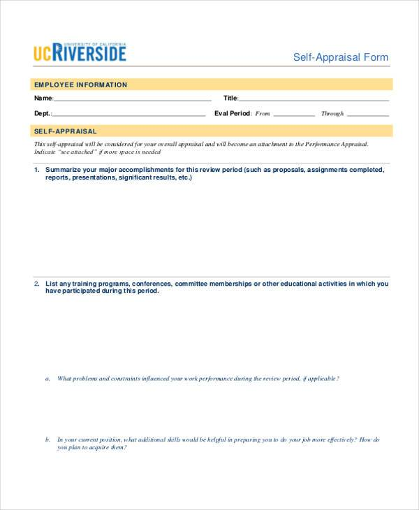 Appraisal Form Examples  Free Sample Example Format Download