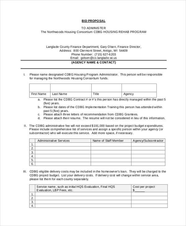 standard bid proposal form