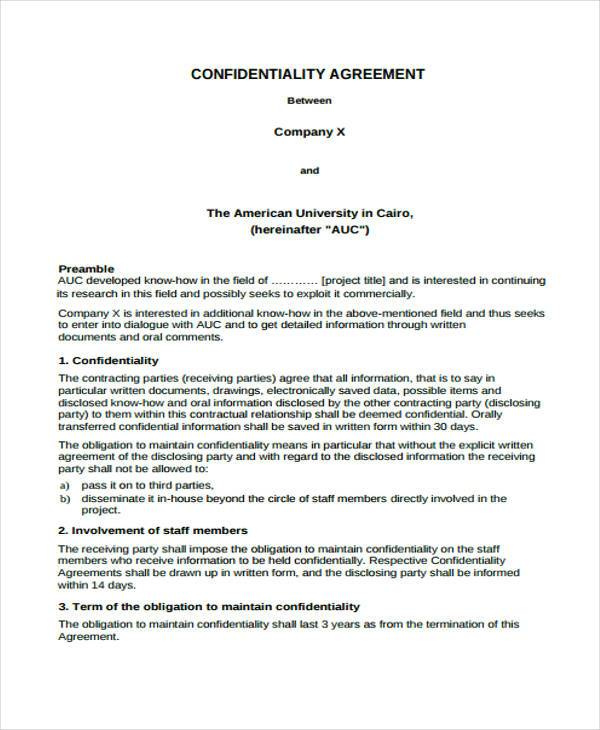 standard confidentiality agreement form