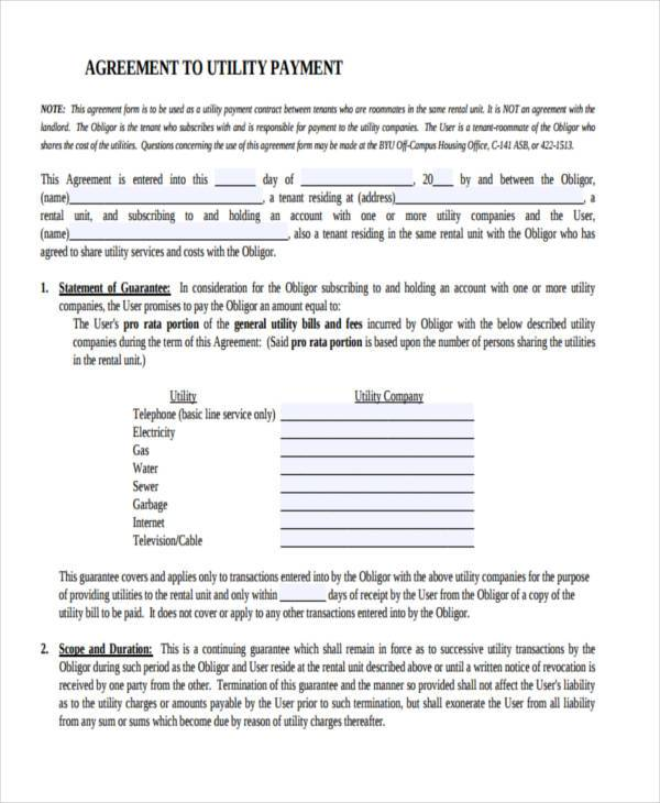 standard contract payment agreement form