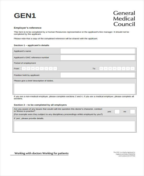 standard employment reference form