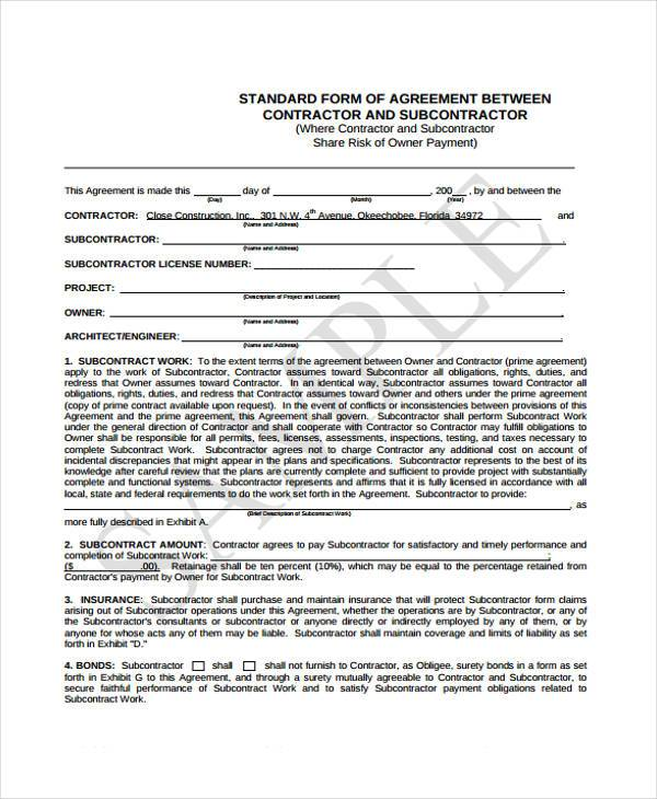 standard form of subcontract contract agreement