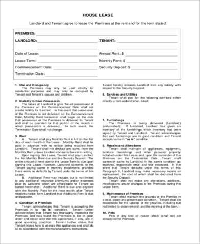 standard house rental agreement form
