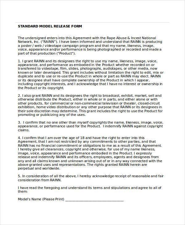 standard model release form3