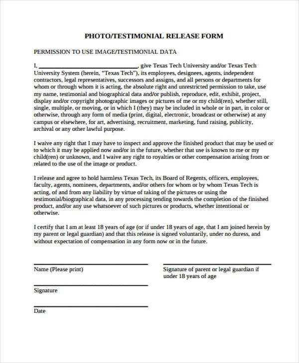 standard photography release forms