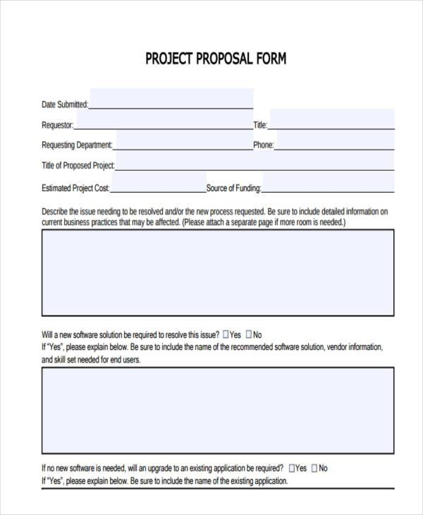 standard project proposal form