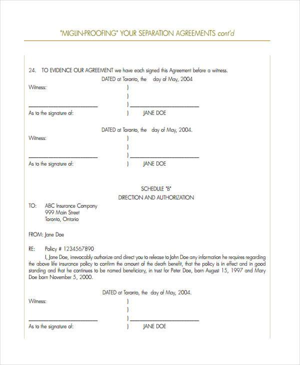 standard separation agreement form sample